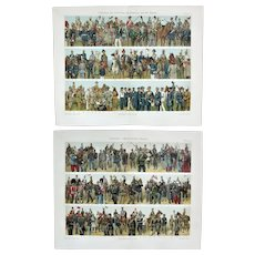 Uniforms Germany and Non German Countries 2 Antique Chromo Lithographs