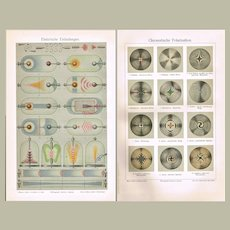 Old Chromolithograph Electric Discharges and Chromatic Polarization 1898