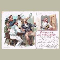 China Mocking Postcard 1899. Deutscher Bund,
