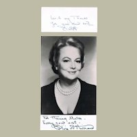 Olivia de Havilland Autograph. Signed Photo + Small Signed Card