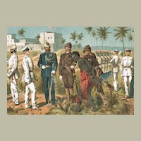German East Africa Uniforms of Protection Army Lithograph from 1899