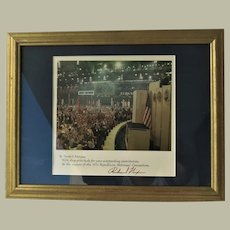 Richard Nixon Autograph from 1972 Framed 18 x 14 CoA