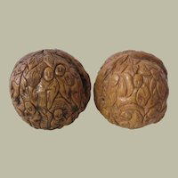 Two Antique Chinese Walnuts with Monks