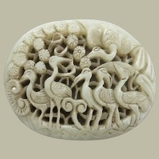 Antique Chinese Jade Plaque with Cranes in Open Work