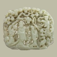 Antique Chinese Jade Plaque in Open Work