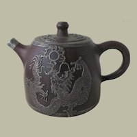 Old Chinese Zh Sha Yi Xing Teapot with Dragon Motif.