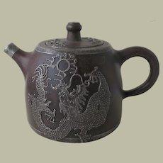 Old Chinese Zh Sha Yi Xing Teapot with Dragon Motif.