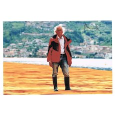 Christo Portrait Photo The Floating Piers in Lombardy, signed CoA