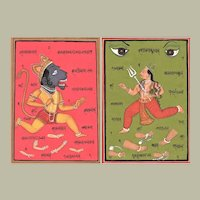 Two old Indian Tantra paintings on Manuscript Pages from early 20. Ct