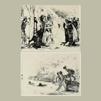 Two Original Lithographs of Indigenous Peoples of the Americas by Max Slevogt