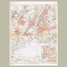 New York Three Old Maps from 1902