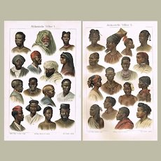 African Peoples Two Chromo Lithographs from 1898