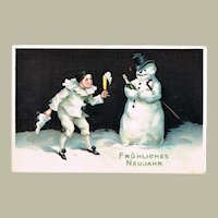 Pierrot and Snow Man New Years Postcard
