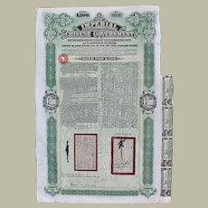 Chinese Tientsin Pukow RR Supplementary Loan 100 Pounds Bond from 1911