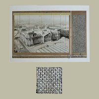 Christo signed Wrapped Reichstag Artist Postcard and Fabric CoA