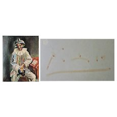 Pablo Picasso Autograph on Postcard with Pierrot. CoA
