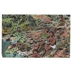 Panama Vintage Postcard Girls Taking a Bath, c. 1910