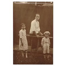 Chinese vintage Photo young Mother with 2 Children