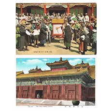 Lama Celebration and Temple in Beijing Two Vintage Postcards