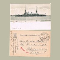 SMS Maria Theresia Postcard and Fieldpost 1915