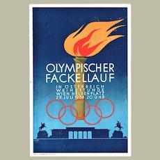 Olympic Torch Run Postcard 1936 Austria Wien Heldenplatz