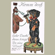 Cute Postcard with Dachshund on Telephone from 1913
