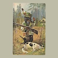 Funny Vintage Postcard with Sausage Dog as Hunter