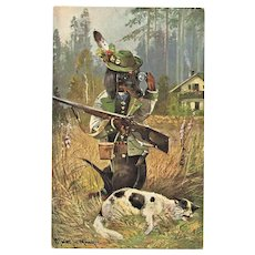 Funny Vintage Postcard with Sausage Dog as Hunter
