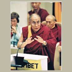 Scarce Dalai Lama Autograph on 7 x 9 Photo plus Print CoA