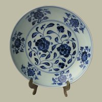 Old Chinese Blue White Plate with Floral Design