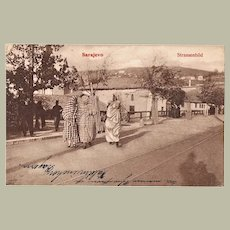 Muslim Ladies in Sarajevo Vintage Postcard from 1909