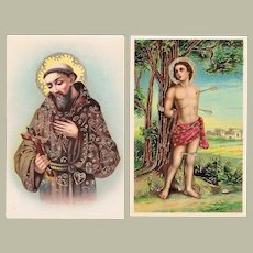 Francis of Assisi and Saint Sebastian 2 Vintage Postcards pre-1920