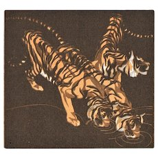 Decorative vintage Postcard with Tigers by Norbertine Bresslern – Roth