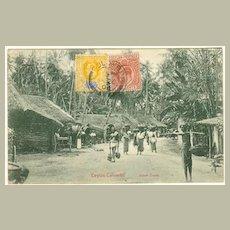 1904: Ceylon. Vintage Postcard. Street scene. 2 Stamps