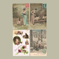Four Old New Years Postcards with Pigs