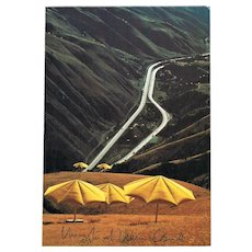 Christo and Jeanne Claude signed The Umbrellas Postcard with CoA