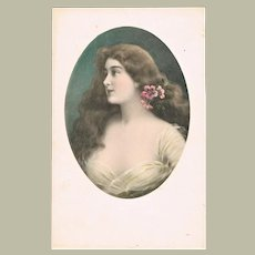 Art Nouveau Postcard with Beautiful Young Lady