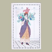 Mela Koehler Art Nouveau Postcard Lady with Flowers.