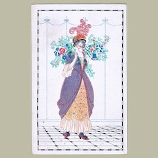 Mela Koehler Art Nouveau Postcard Lady with Flowers.