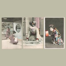 Three tinted Japanese Postcards with Ladies in beautiful Kimono