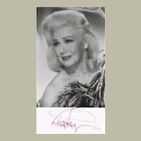 Ginger Rogers Autograph on b/w Photo. CoA