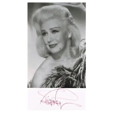 Ginger Rogers Autograph on b/w Photo. CoA