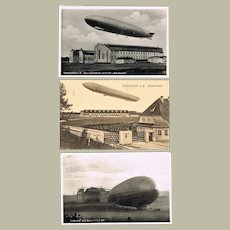 Three old Zeppelin Airship Postcards