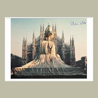 Christo Wrapped Monument to Vittorio Emanuele Postcard with CoA