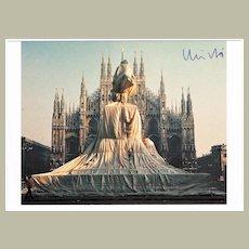 Christo Wrapped Monument to Vittorio Emanuele Postcard with CoA