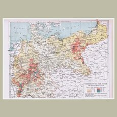 Spreading of Jews in Germany Historical Map from 1902
