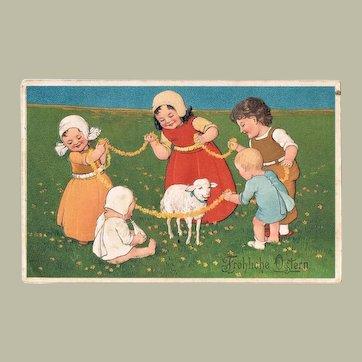 Happy Easter. Old, embossed Postcard 1912