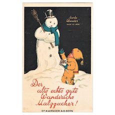Decorative Advertising Postcard with Snow Man and Malt Sugar