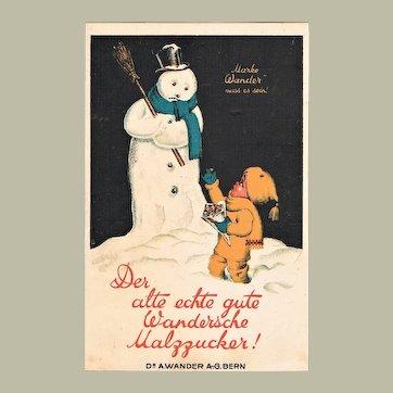 Decorative Advertising Postcard with Snow Man and Malt Sugar