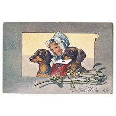 Two Dachshund on vintage Christmas Postcard 1906